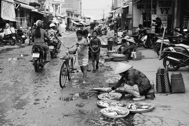 Locals sell seafood on the streets of An Thoi, in southern Phu Quoc, Vietnam
